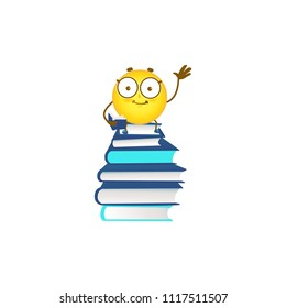 smiling emoticon schoolchild on pile of books pulling hand up isolated on white background - back to school concept with cute emoji ball student learns and studies, cartoon vector illustration.