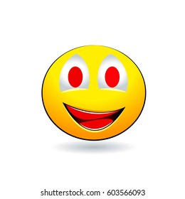 Smiling emotion with red teeth on a white background. Vector illustration