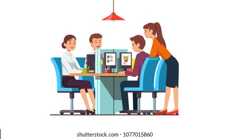 Smiling employees team group working together on desktop computers in modern open space office with combined desks. Business company office room interior design. Flat vector isolated illustration