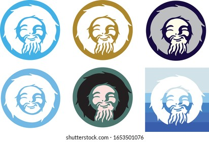 smiling eskimo man colorful logos vector
