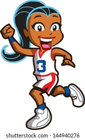 Smiling Ethnic Girl Basketball Player Running Down the Court
