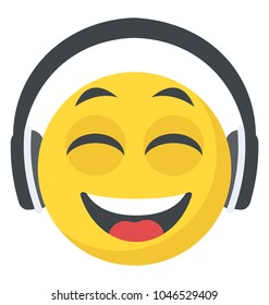 Smiling face emoji with large over-ear headphones, DJ emoticon