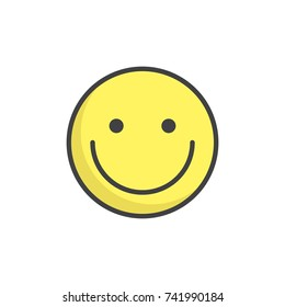 Smiling face emoticon filled outline icon, line vector sign, linear colorful pictogram isolated on white. Emoji smiley symbol, logo illustration. Pixel perfect vector graphics