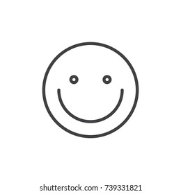 Smiling face emoticon line icon, outline vector sign, linear style pictogram isolated on white. Emoji smiley symbol, logo illustration. Editable stroke