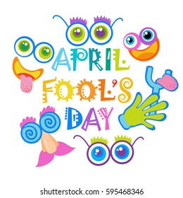 Smiling Face First April Fool Day Happy Holiday Greeting Card Flat Vector Illustration