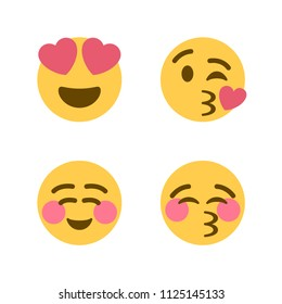 Smiling Face with Heart-Eyes, Blowing a Kiss, Smiling Face, Kissing Face with Closed Eyes. Vector illustration love, heart smiling emojis, emoticons icons, symbols, faces set, group.