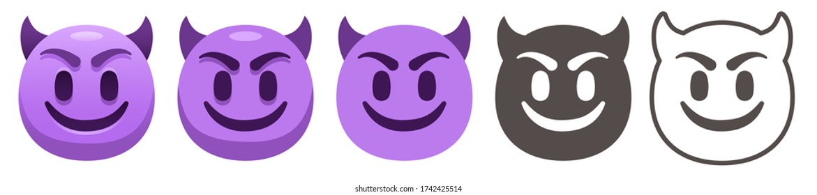Smiling Face with Horns. Happy purple devil emoji, gloating demon emoticon and evil smile flat vector icons set