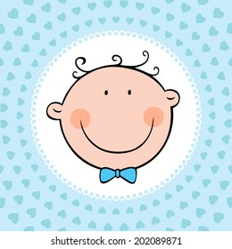 Smiling face of newborn baby boy. Vector illustration.