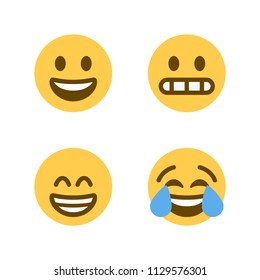 Smiling Face with Open Mouth, face with tears of joy vector illustration flat laughing emojis, emoticons icons, symbols, faces set, pack.