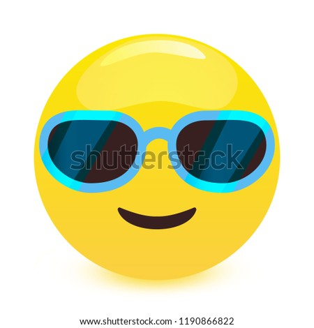 smiling face with sunglasses characterising a cool emoticon