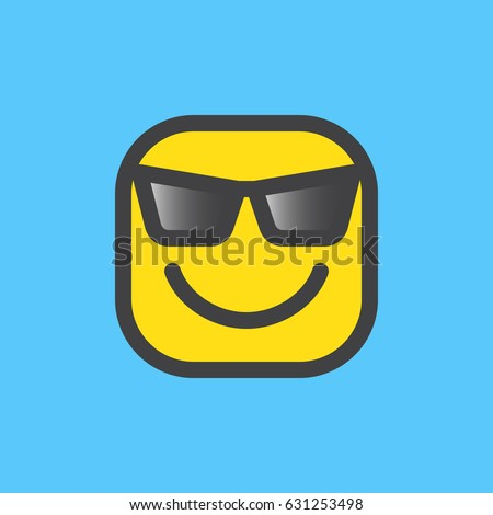 smiling face with sunglasses cool emoji filled outline icon colorful vector emoticon