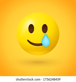 Smiling face with tear emoji - yellow face with smile and a teardrop under one eye on yellow background