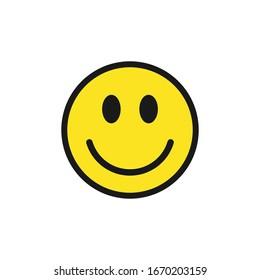 Smiling face vector icon symbol. Yellow smile sign. Simple flat shape happy emotion logo. Isolated on white background.