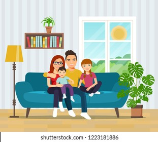 Smiling family  on sofa in the living room. Vector flat illustration