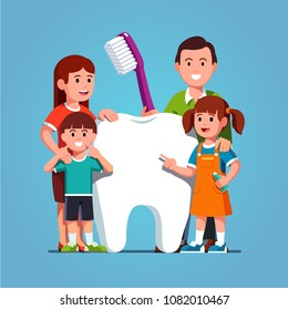 Smiling family parents with two kids standing next to big white tooth holding toothbrush showing healthy clean tooth encouraging teeth hygiene and care. Inspirational clipart. Flat vector illustration