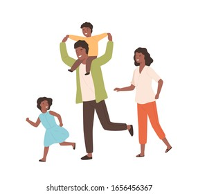 Smiling family playing having fun together vector flat illustration. Happy parents and children running have positive emotion isolated on white. Black skin cartoon people rejoicing