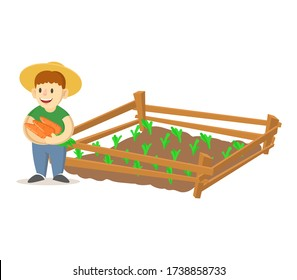 Smiling farmer boy wearing straw hat holding carrots and growing plants in garden beds. Homegrown vegetables, eco friendly farming. Colorful flat vector illustration, isolated on white background.