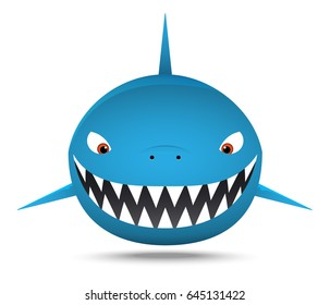 Smiling Fat shark, cartoon