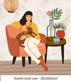 Smiling female hugging and stroking cute dog sitting on armchair vector flat illustration. Joyful woman spending time with lovely domestic animal at cozy interior. Happy pet owner relaxing at home
