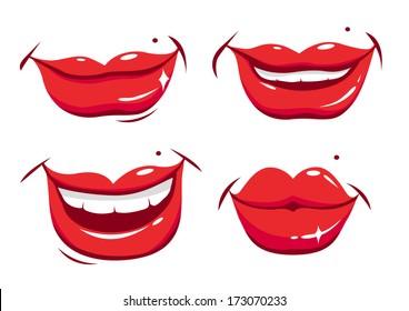 Smiling female lips. Vector illustration
