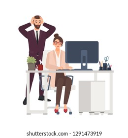 Smiling female manager working on computer at office, horrified male boss standing beside. Unprofessional or bad worker ruined business project. Funny flat cartoon characters. Vector illustration.