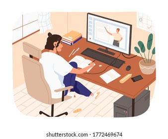Smiling female study online looking at computer screen making notes vector illustration. Domestic girl sitting on chair watching internet courses. Modern student or pupil studying remotely at home