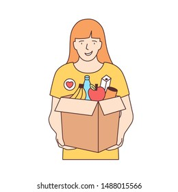 Smiling female volunteer carrying box with fruits and other products isolated on white background. Food donation, volunteering, altruistic activity. Colorful vector illustration in line art style.