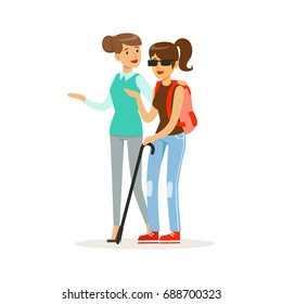 Smiling female volunteer helping and supporting blind woman, healthcare assistance and accessibility colorful vector Illustration