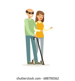 Smiling female volunteer helping and supporting blind man, healthcare assistance and accessibility colorful vector Illustration