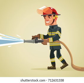 Smiling fireman character holding hose extinguishing fire with water. Vector flat cartoon illustration