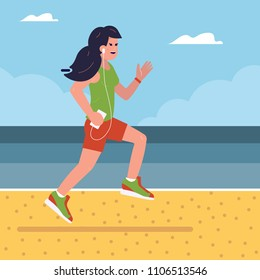 Smiling fitness girl running on beach by morning. Happy athletic woman jogging and training on seaside with ear pods. Healthy sport lifestyle on sea vacation and summer workout concept.