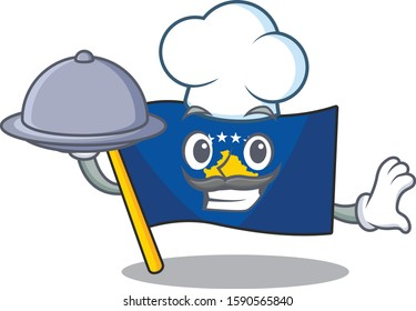 smiling flag kosovo as a Chef with food cartoon style design