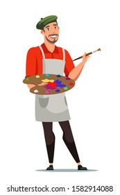 Smiling french artist flat vector illustration. Painter with color palette cartoon character. Man with drawing tools isolated on white background. Frenchman holding painting equipment