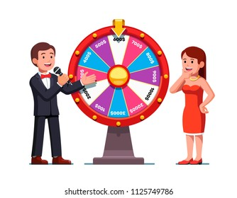 Smiling game show host man showing wheel of fortune win sector to excited woman. Colorful clipart design. Fortune wheel game, casino and gambling. Flat vector illustration isolated on white