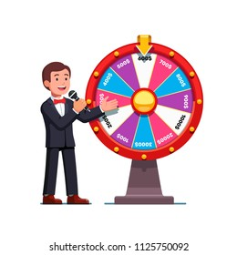 Smiling game show host man wearing bowtie talking to mic presenting wheel of fortune with money prizes bets. Wheel of fortune game show gambling concept. Flat vector illustration isolated