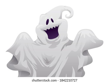 Smiling ghost wearing a bed sheet, isolated over white background.