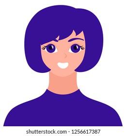 Smiling girl avatar, bright trendy userpic, interesting woman profile icon. Vector illustration.