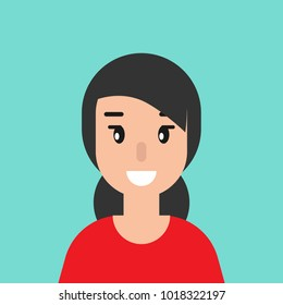 smiling girl avatar.  cute smiling woman with black hair.  flat icon on blue background.  person character. vector illustration.