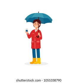 Smiling girl in casual clothes standing with umbrella and cup of coffee cartoon vector Illustration on a white background