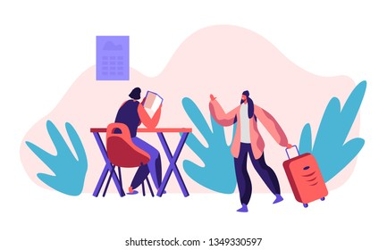 Smiling Girl Character Living Hostel Kitchen Room with Big Suitcase. Cheap Hotel Concept. Woman at Table Read Book. International Economy Travel. Weekend Trip Flat Cartoon Vector Illustration