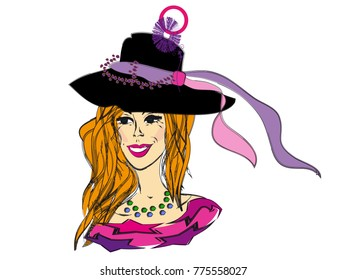 Smiling Girl in fancy hat with pink and purple ribbons