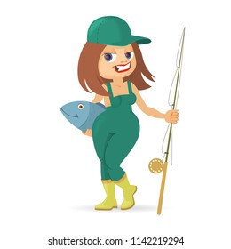 smiling girl with fishing rod and fish, illustration of fishing