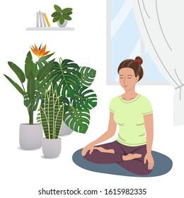 Smiling girl practicing yoga and enjoying meditation. Young woman meditating in home garden. Concept illustration for physical and spiritual practice, healthy lifestyle. Cartoon vector illustration.