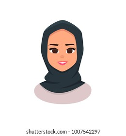 Smiling girl in scarf. Young Arabic business woman wearing hijab. Arabian Woman Face Covered with Hijab. Vector illustration isolated from white background