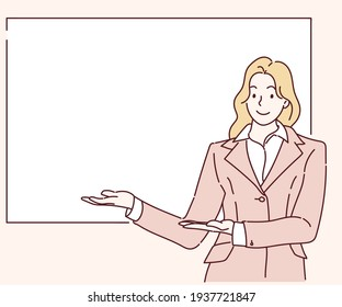 Smiling girl showing open hand palm with copy space banner. Hand drawn in thin line style, vector illustrations.