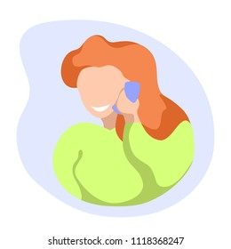 Smiling girl speaking by mobile phone. Girl with cellphone flat vector. Answering to call. Phone conversation concept. Red hair girl illustration. Pretty girl chip chat. Phone dating. Informal talk
