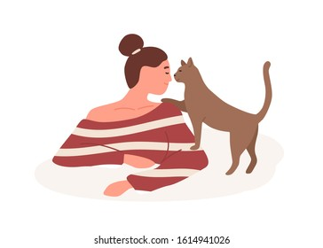 Smiling girl with tenderness playful cat vector flat illustration. Kindness, goodness, animal care concept. Happy woman playing with four-legged pet friend isolated on white background.