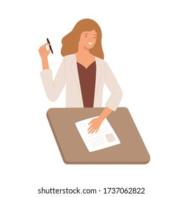 Smiling girl writing test with paper and pen sitting at desk vector flat illustration. Happy woman representation of resume isolated on white background. Joyful recruiter female review cv applicant