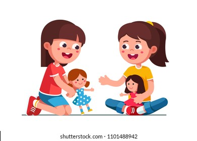 Little Girl Playing Toys Stock Vectors Images Vector Art