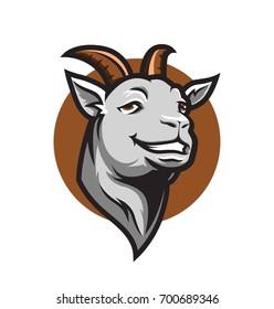 Smiling goat on white background